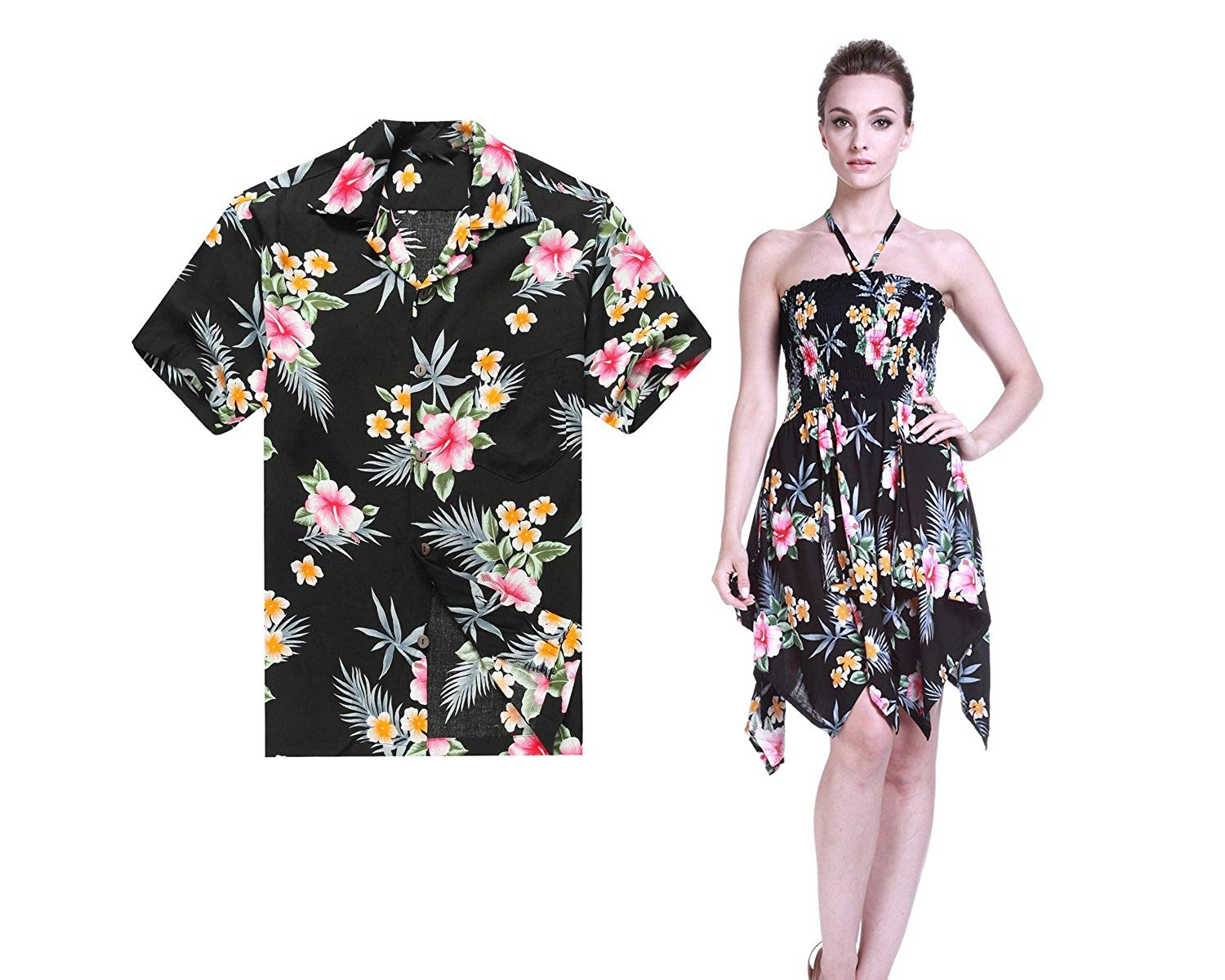 394bed6908a4 Get Quotations · Hawaii Hangover Couple Matching Hawaiian Luau Aloha Shirt  Gypsy Dress In Hibiscus Blue