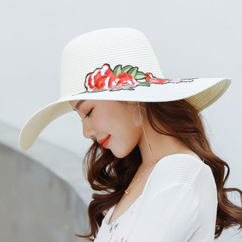 Oem Quality Vintage Floppy Hats Embroidered Foldable Straw Sun Hat ... 1b3c8034f49
