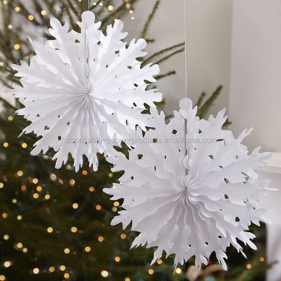 Paper Decorations Christmas Christmas Snowflake Tissue Paper Decorations White Tissue Paper