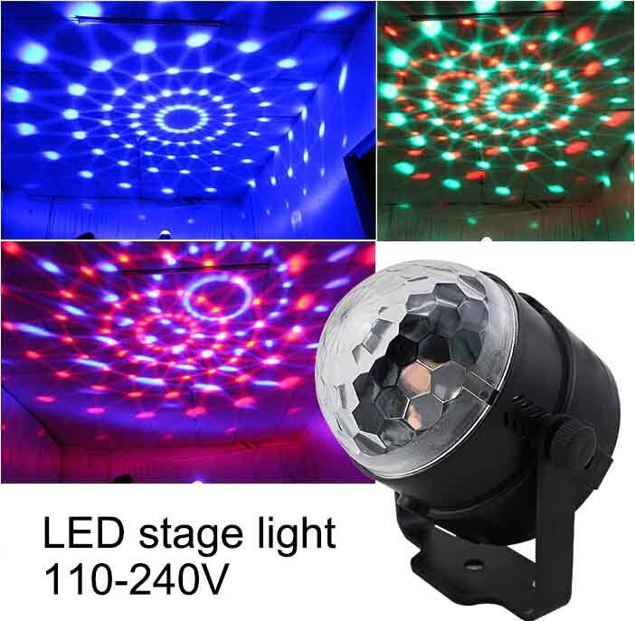 Mini Stage Lighting Moving Head Laser Projector Effect 3W Color LED Crystal Voice-activated RGB Light DJ Controller Disco Ball