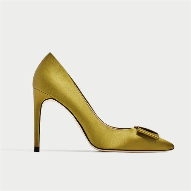 92b4b661732 ZA35 Wedding high heel Shoes Big Size butterfly decor satin material Women dress  Shoes