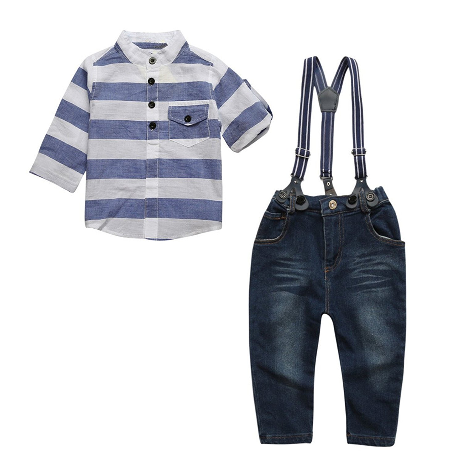 57305511a Get Quotations · ZIYOYOR Kids Boys Gentleman Outfit Suspenders Denim Pants  and Stripe Shirts Clothing Set
