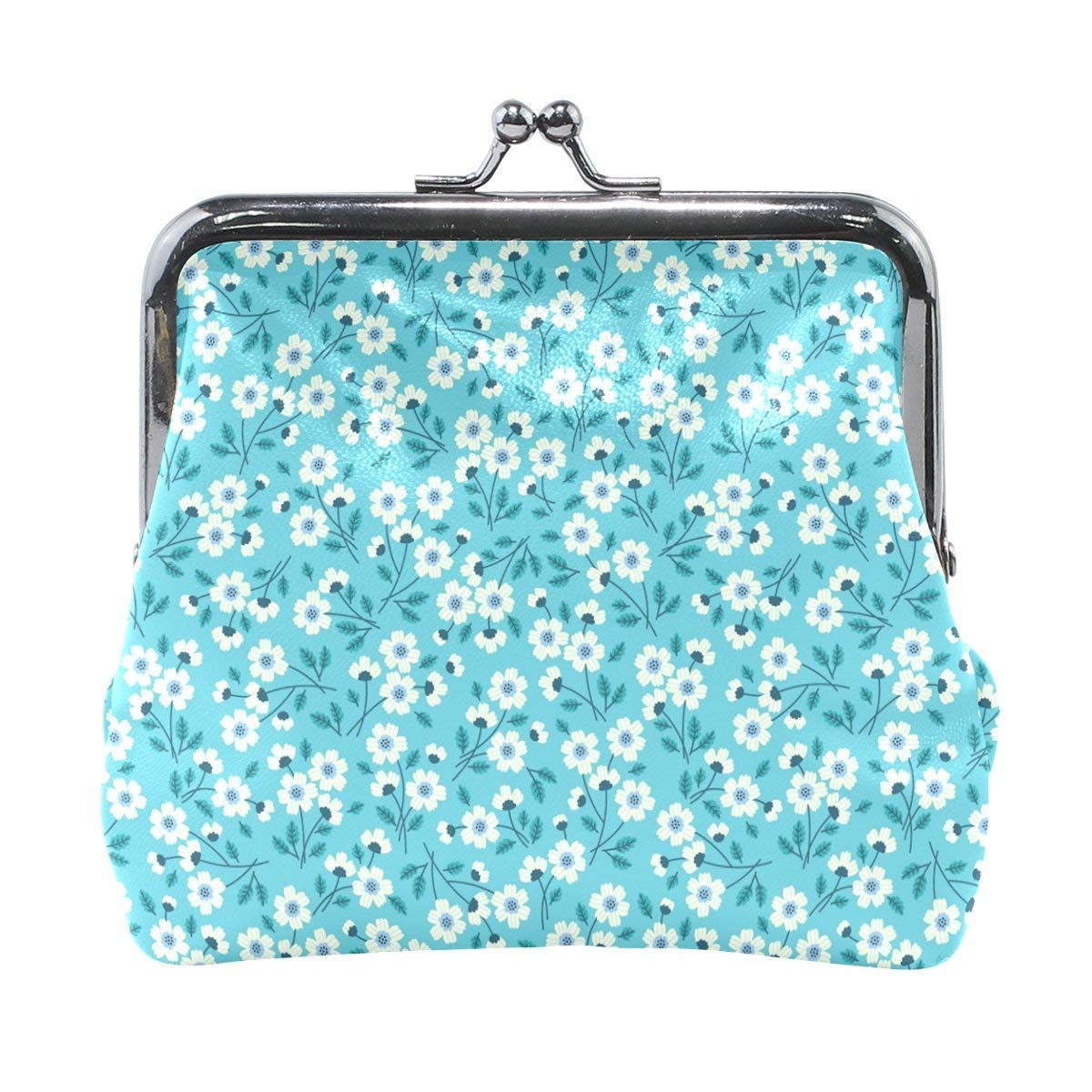 Cute Blue Floral Pattern High Grade Leather Coin Purse Snap Closure Clutch Coin Wallet