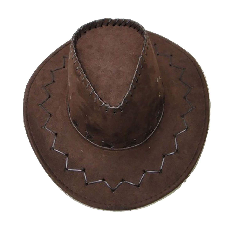 681d03c3f39dcc Get Quotations · Rimi Hanger Mens Brown Black Cowboy Hat Adults Suede Look  Wild West Hat Fancy Dress Accessory