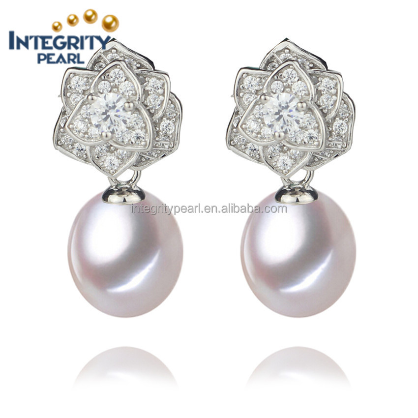 Latest genuine pearl earrings on sale 8-9mm drop shape white color AAA grade with 925 sterling silver accessory