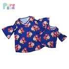 New Style Flutter Half Sleeve Cross Front Flower Printed Baby Girl Clothes T shirt Kids