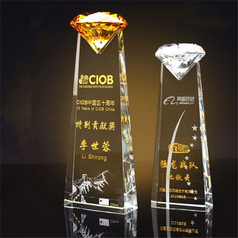 Zhongshan New Design 3D Blank Top Star Diamond Shape Golf Exclusive Award Honor Crystal Trophy