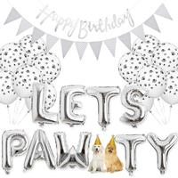 Dog Party Supplies Birthday Decorations Lets Pawty Paw Balloons Banner Pet Hat Happy Birthday Banner Foil Balloons
