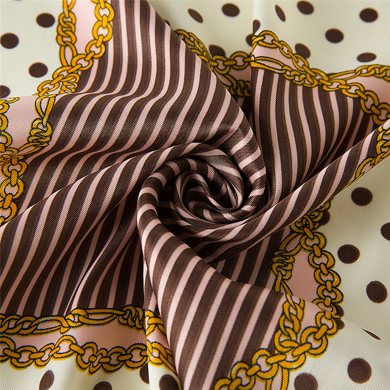 Wholesale High Quality Super Soft Custom Dot Summer Wild Lady Square Silk Satin Scarf