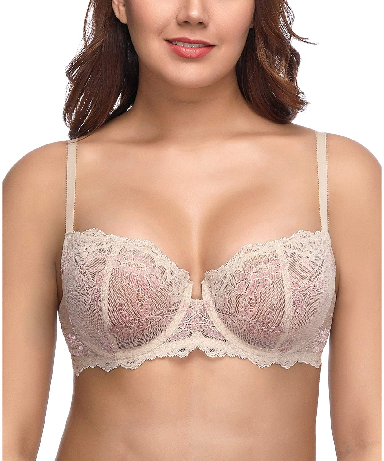 e814580d1 Get Quotations · Deyllo Women Sexy Lace Bra Underwire Unlined Bra Floral  Sheer Non Padded See Through