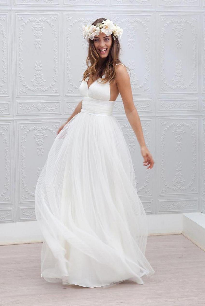 2015 Beach Wedding Dresses Cheap V Neck Spaghetti Strap ...