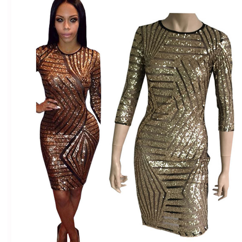 Get Quotations · Summer Dress 2015 Sexy Long Sleeve Dress Club Sequined  Dress Bandage Bodycon Dresses Stripes Mesh Sequined 8deece69239d