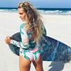 Long Sleeve Surfing Swimwear Print Floral One Piece Swimsuit Women Bathing Suit Retro Swimsuit Vintage One-piece Swim Suits Hot