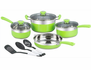 Stainless Steel Cooking Pan Set Color Printed Kitchen Accessories