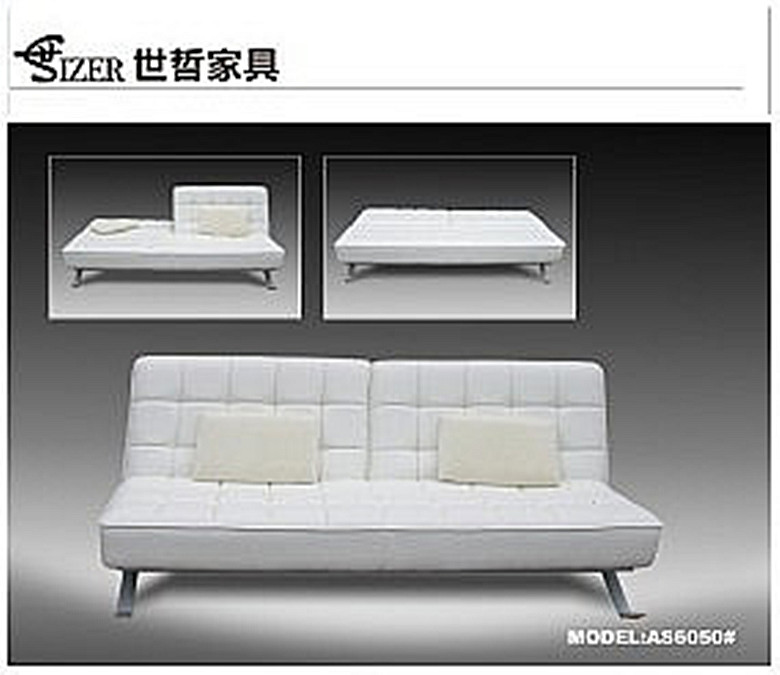 Modern style white folding 2 seater leather sofa bed for hot sale