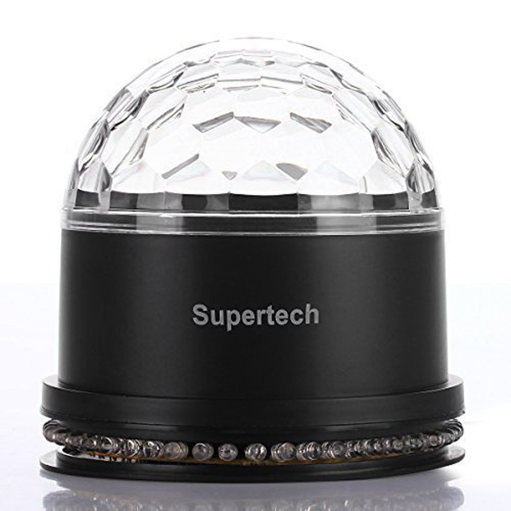 Party Lights,Supertech Muliti Color Changes Sound Actived Auto RGB Mini Rotating Magic Disco Ball Strobe Stage Lights For DJ Dancing Show Concert Xmas Halloween