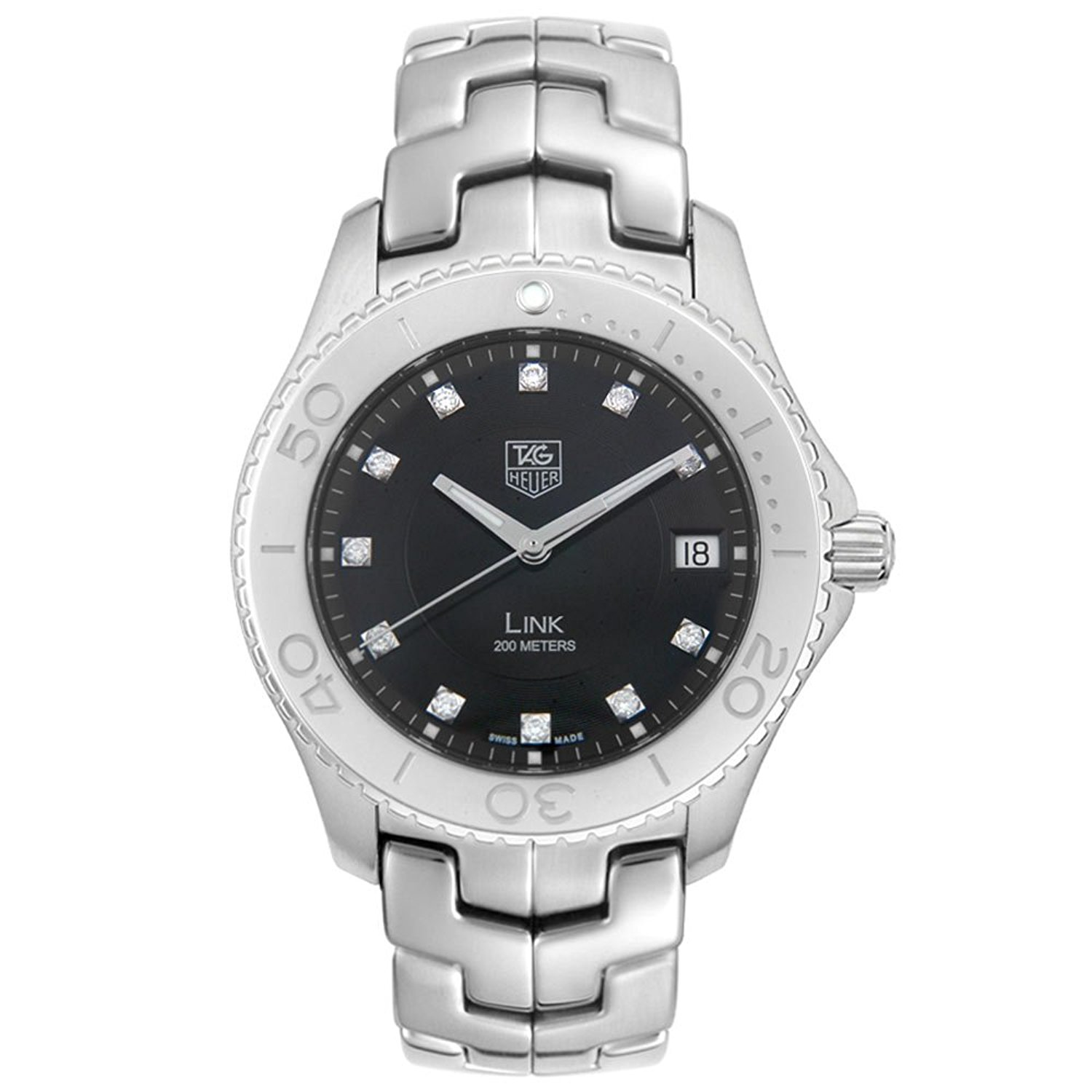 TAG Heuer Men's WJ1113.BA0570 Link Diamond Accented Stainless Steel Watch