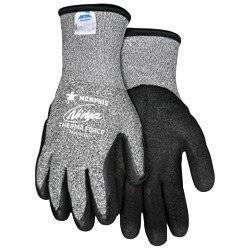 Memphis Glove X-Large Black And Gray Ninja Therma Force 7 Gauge Acrylic Terry Lined Cold Weather Gloves With Knit Wrist, Salt/Pepper 13 Gauge Dyneema And Synthetic Fibers Shell And - 1 PR