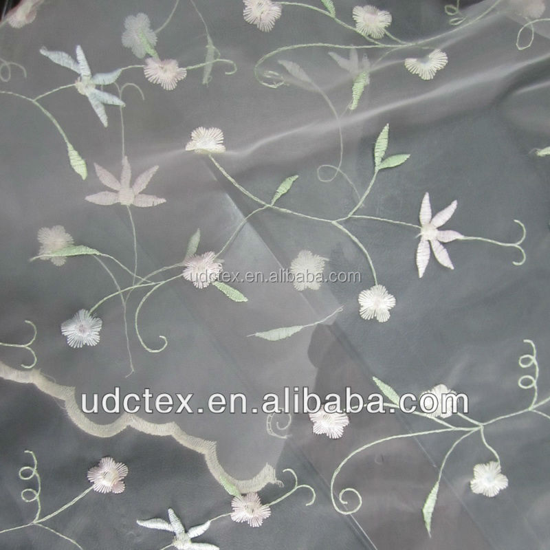 Beautiful Embroidered sheer Organza Curtain Fabric for export