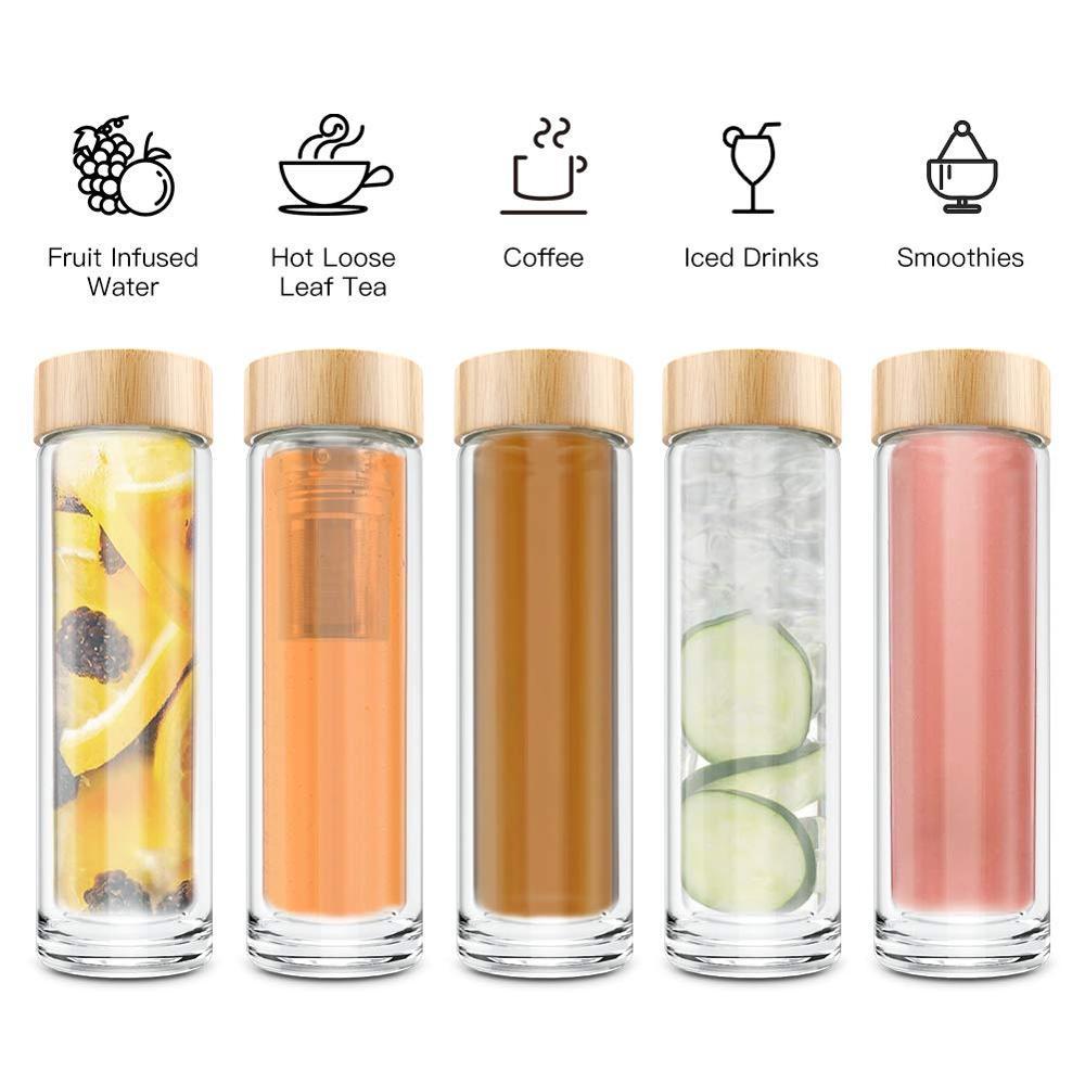Bán Buôn Chai Nước Tùy Chỉnh Glass Đôi Tường Tea Infuser Uống Chai Nước 450Ml
