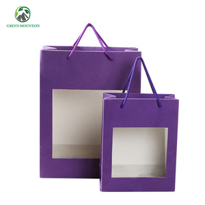 custom design own Logo printed recyclable shopping brown kraft paper gift bag with clear window