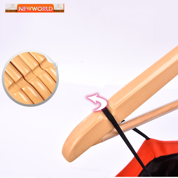Color painted single rod wooden woman clothes hanger