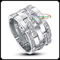 Big Engagement Ring with Synthetic Certified Lab Grown Diamond like Natural Wedding Ring Silver 925 + Solid 10K White Gold