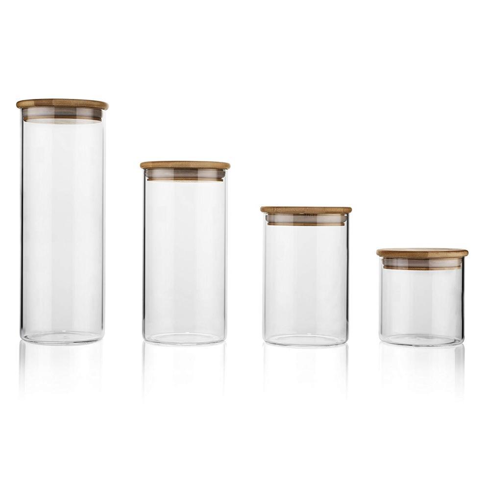 Alibaba.com / 350ml 400ml 600ml Borosilicate Honey Candy Herb Weed Cookie Food Storage Glass Jar With Airtight Bamboo Lid