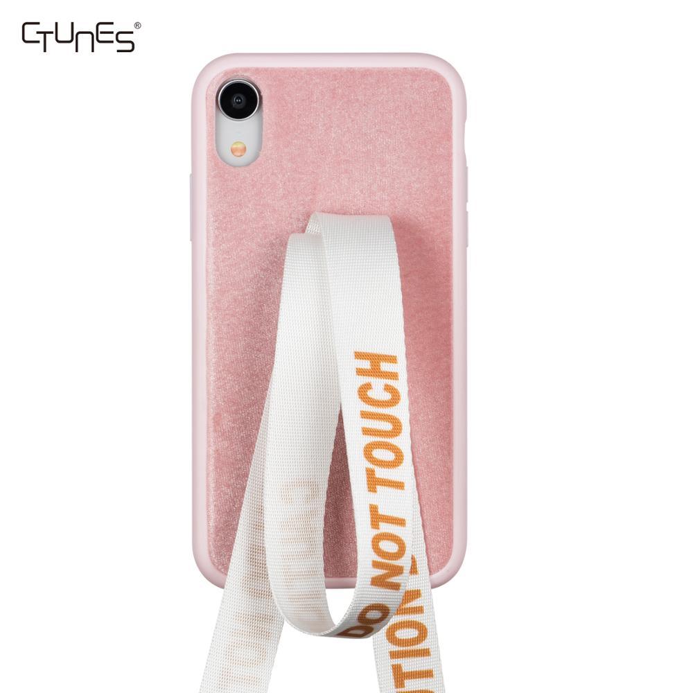 Venta caliente de cuero Slim parachoques del TPU funda protectora móvil caso Shell con correa de mano para iPhone XS