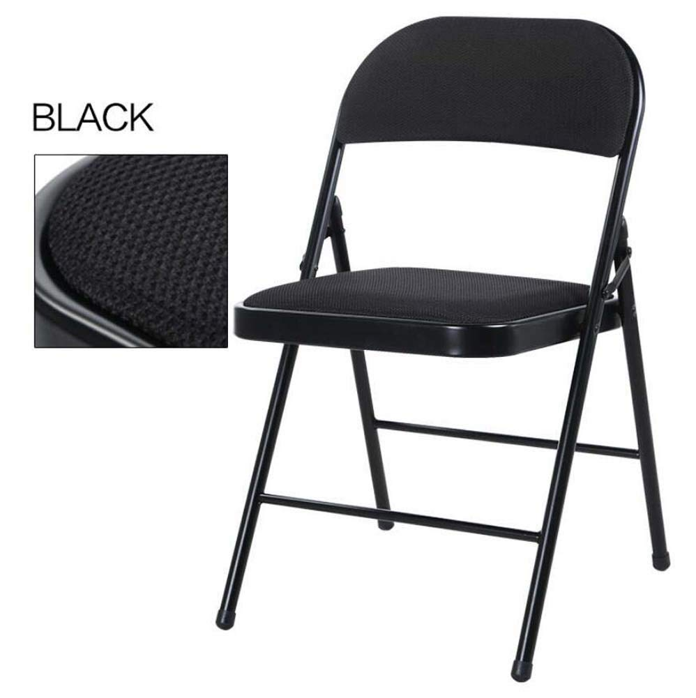 Portable Folding Back Chair Stool Home Training Office Conference Computer Chair Desk Chair Breathable Mesh Padded Fabric Folding Chair Colorful (Color : Black)