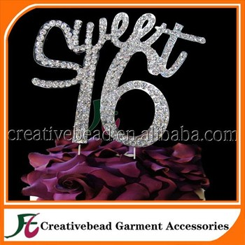 cbes05 sweet 16 cake topper rhinestone cake topper personalized