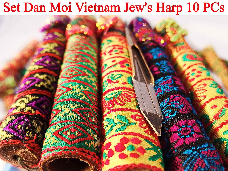 Set Dan Moi 10 PCs Vietnam Jews Harp - mouth/lip musical instrument (jaw harp) (2 PCs Mini + 2 PCs Bass Double + 2 PCs Standard + 2 PCs Bass + 2 PCs Mini Double)