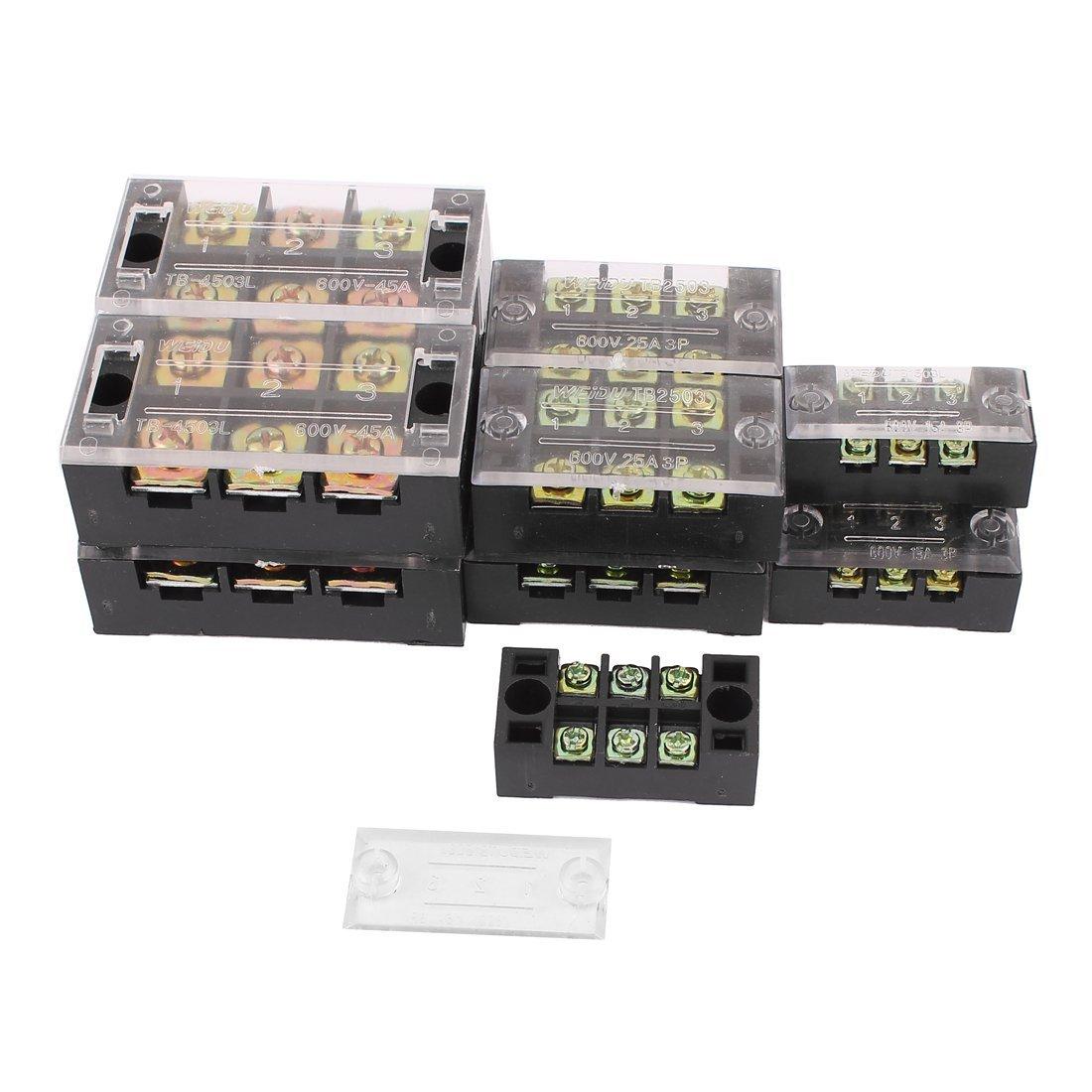 Aexit Dual Row 3 Position Screw Terminal Strip 600V 15A/25A/45A 12pcs