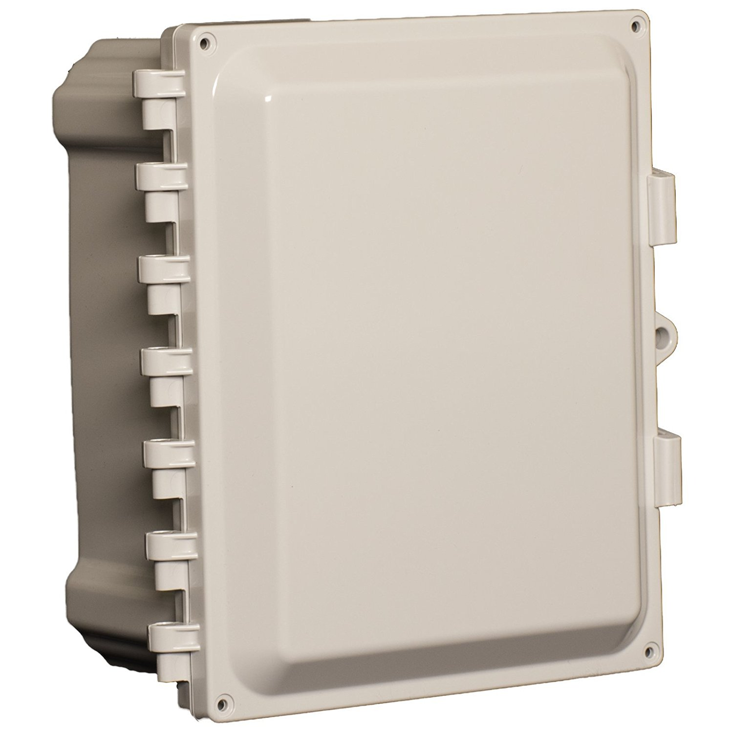 Allied Moulded AMP1084NLF Polyline Series Polycarbonate JIC Size Junction Box Nonmetalic Snap Latch with Polycarbonate Flange and Hinged Opaque Cover
