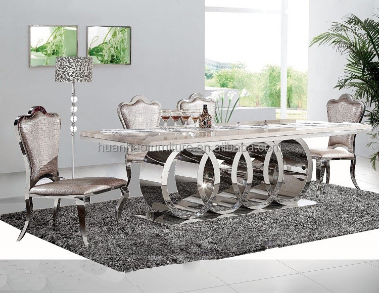 DH-1405 Foshan furniture factory wholesale restaurant furniture stainless steel marble stone dining table