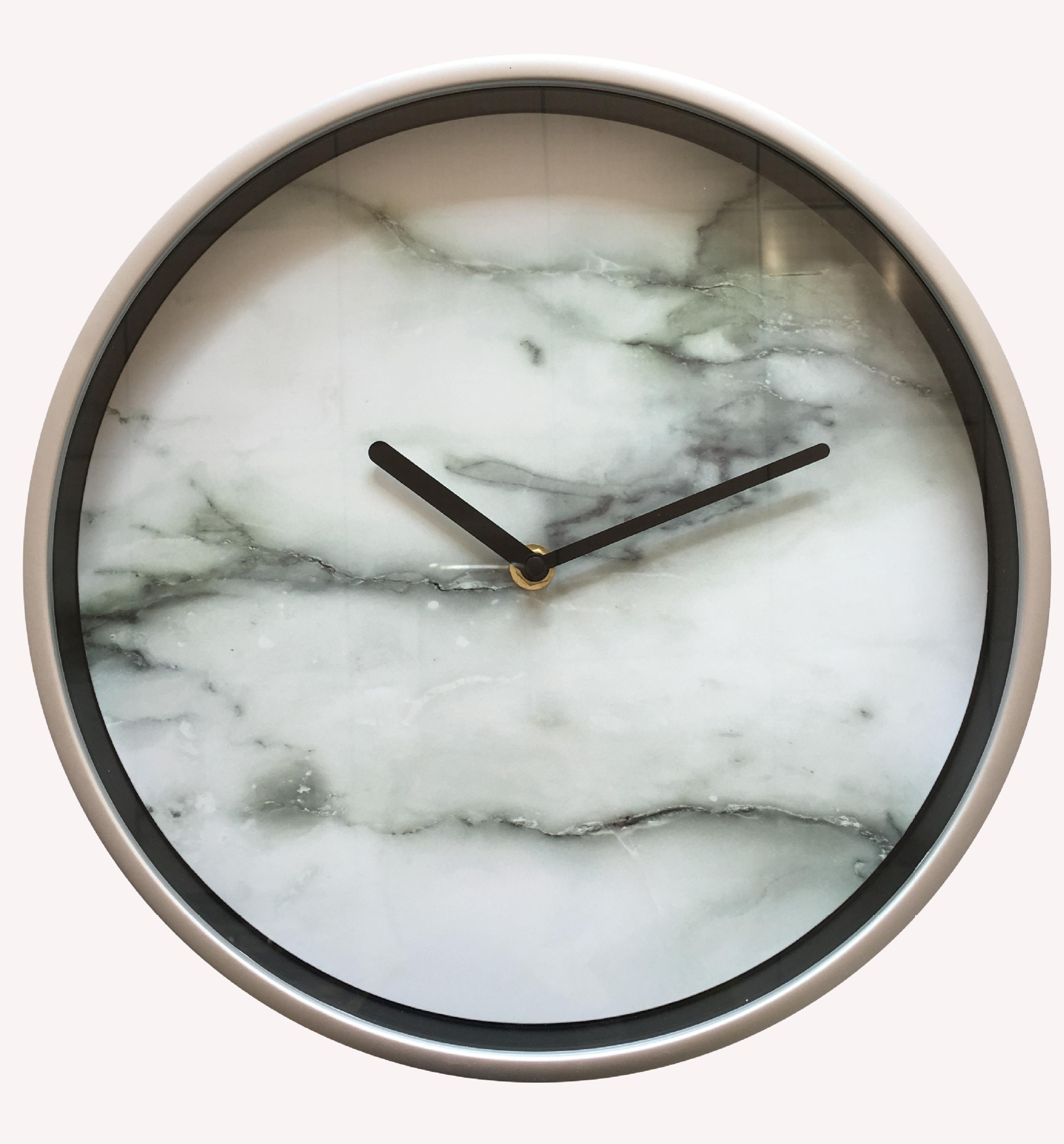 Gold metal clock marble picture dial analog plastic wall clock
