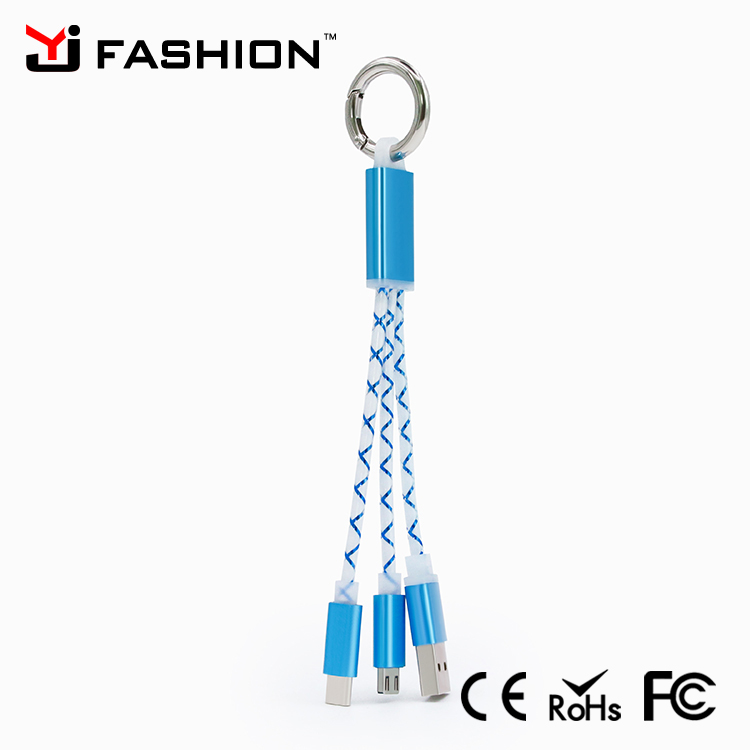 Metal Head 13.5cm Multi function TPE 2 in 1 Keychain USB cable for smart phone