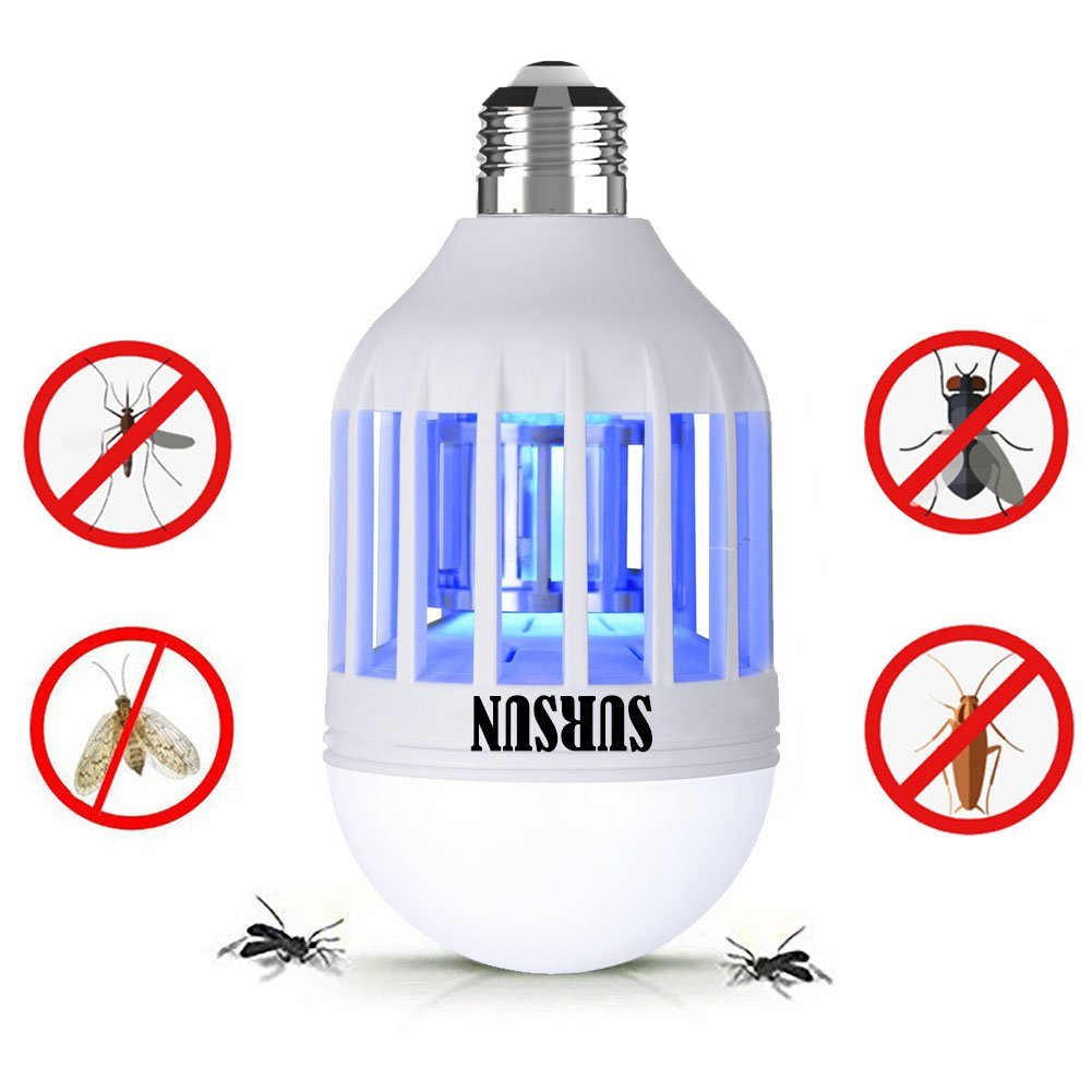110V Mosquito Killer Lamp, Bug Zapper Light Bulb, Electronic Insect Killer, Fits in E26/E27 Light Bulb Socket, Mosquito Trap Night Lamp for Indoor Outdoor Porch Deck Patio Backyard