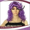 cheap long tight curly purple halloween party hair wig