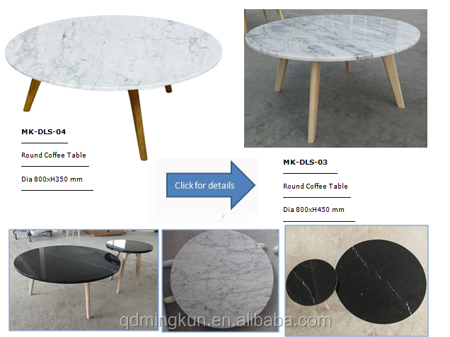 Round Natural Marble Dining Table, Italian Carrara White Marble Dining Table with Wooden Legs, Marble Dining Set