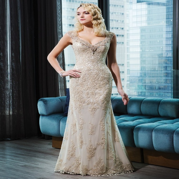Vintage Ivory And Champagne Wedding Dress Sleeve Mermaid