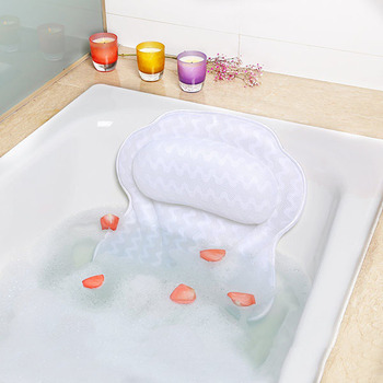 3D Mesh Bath Pillow for Neck and Back Comfort Spa Bath Tub Pillow