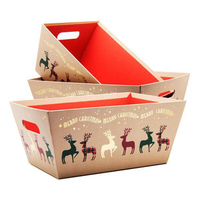 Merry Christmas Corrugated Board Hampers Tray Box Set Gift Present Boxes