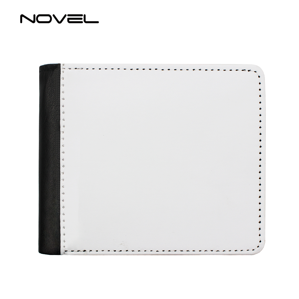 Popular Men Bi-Fold Sublimation Printing PU Leather Wallet With Extra Card Slot