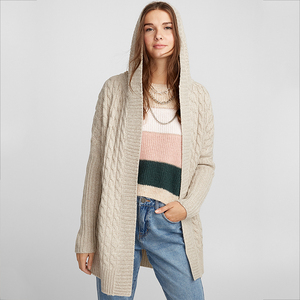 Hot Sale Women's Cable Knit Hoody Sweater Merino Wool Cardigan Hoodies