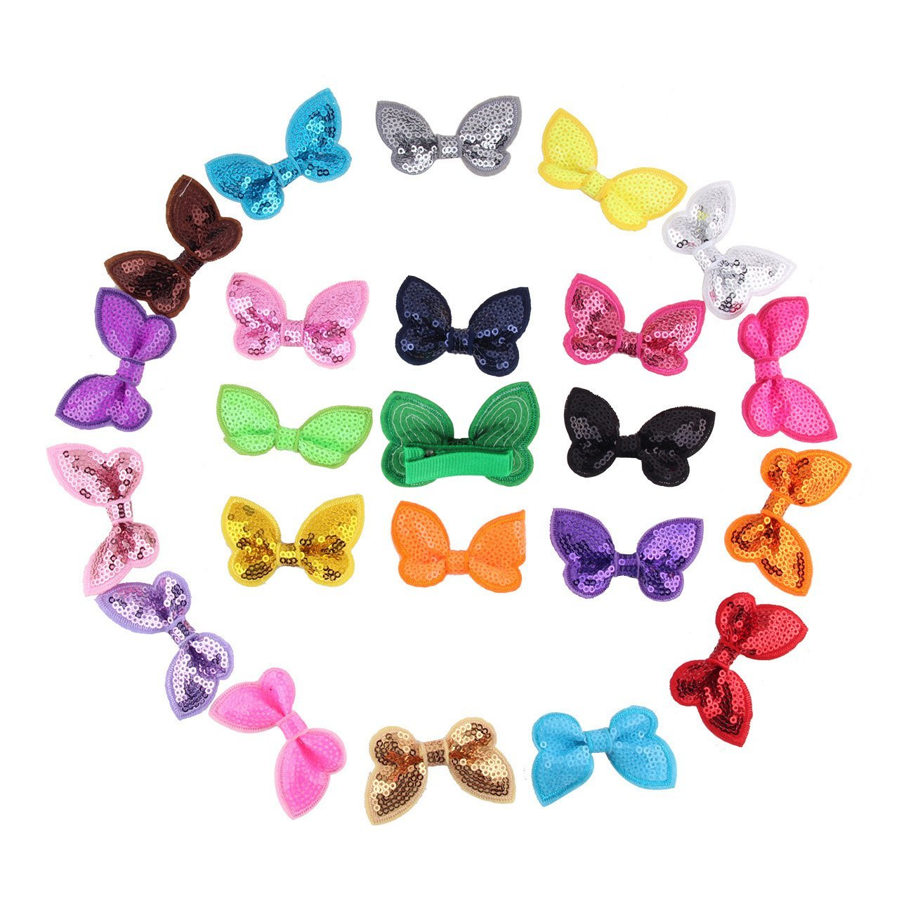 "Candygilr(tm) Little Girls' Paillette Sequin Hair Bow Appliques Sequin Barrettes Girls Hair Clips Pack of 15 (butterfly bow 2.3"" mix 23 pcs)"