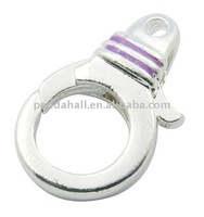 Alloy Enamel Lobster Claw Clasps, Lead Free, Platinum Color, about 11x18x5mm, hole: 1mm(ENAM-H013-2-LF)