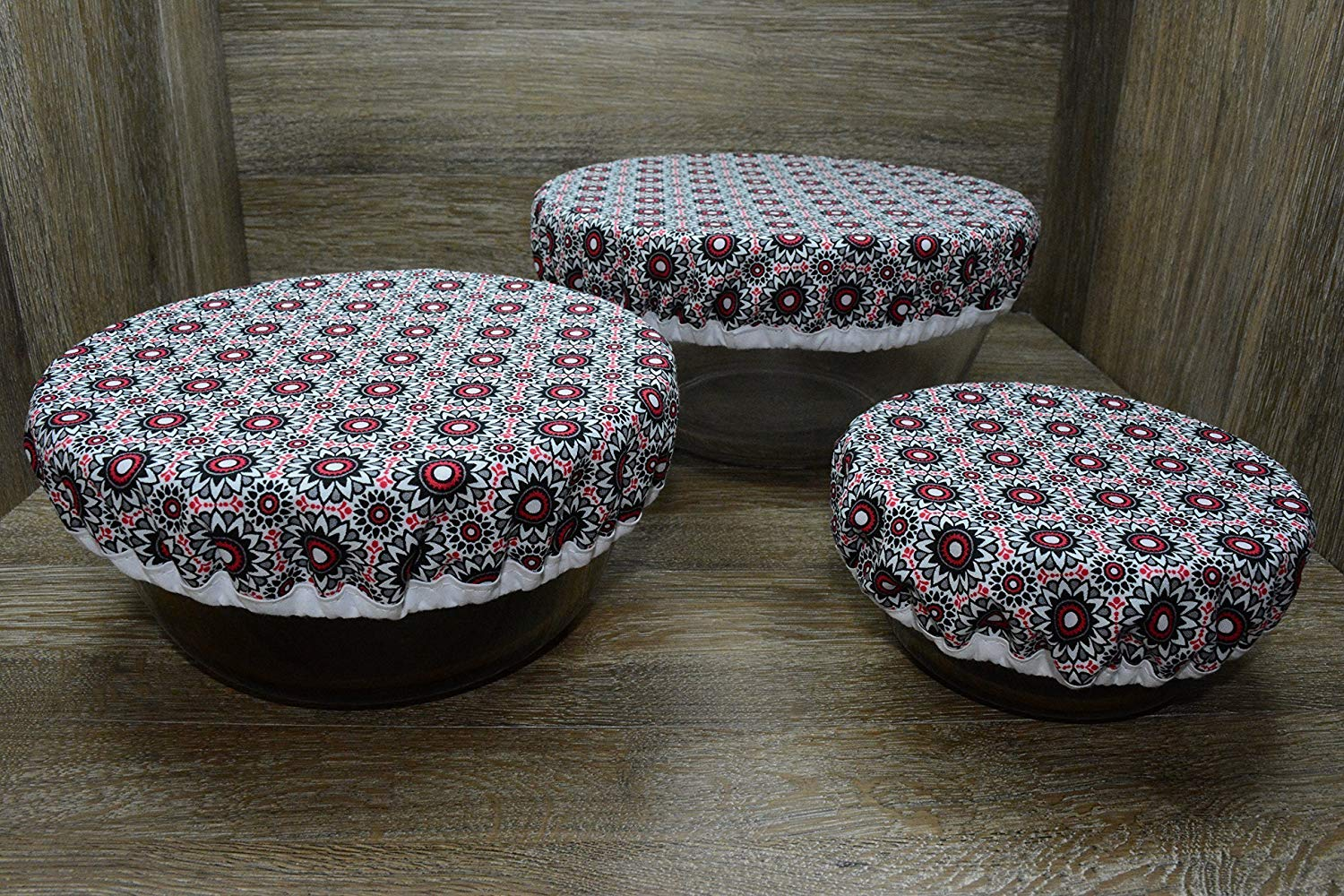 Eco-Friendly//Reusable//Bowl Covers//Set of 3//Red Rhapsody