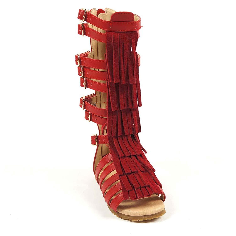 Black.. D.LIN Toddler Girls Sandals Genuine Leather Gladiator Sandals For Girls