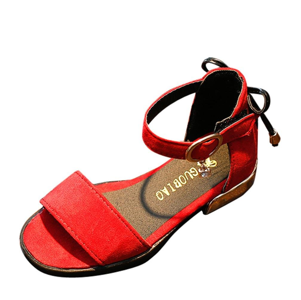 AutumnFall Kids Baby Girls' Low Heel Shoes Toddler Summer Casual Sandals (Age:4.5-5T, Red)